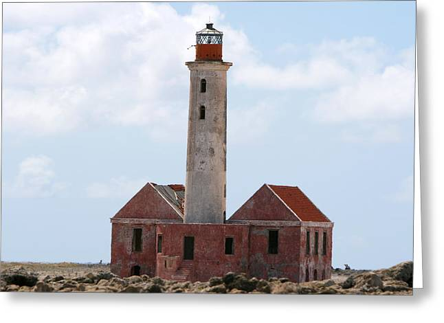 Dutch Lighthouse Greeting Cards - Klein Curacao lighthouse Greeting Card by David Millenheft