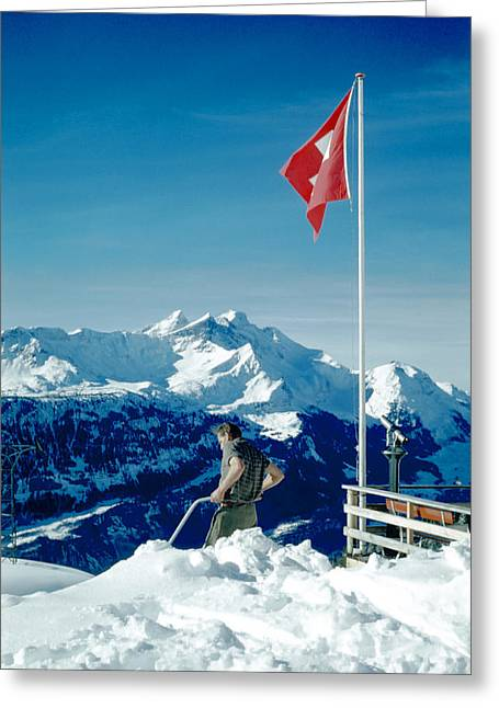 Swiss Flag Greeting Cards - Kleine Scheidegg Greeting Card by Jan Faul