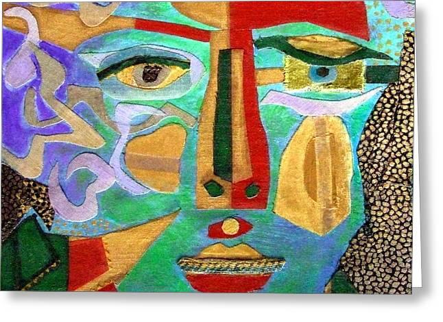 Recently Sold -  - Diane Fine Greeting Cards - Klimt Face Greeting Card by Diane Fine