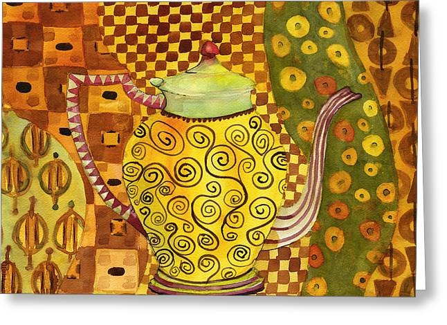 Klimt Greeting Cards - Klimt Style Teapot Blenda Studio Greeting Card by Blenda Studio