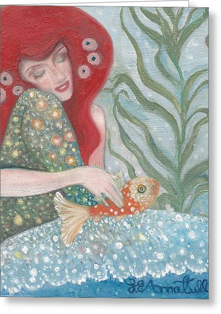 Fish Sculptures Greeting Cards - Klimtian Maid Greeting Card by Laura Elizabeth