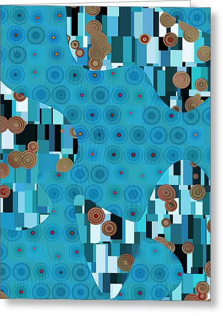 Blue Abstracts Greeting Cards - Klimtolli - 02trq1bgap Greeting Card by Variance Collections