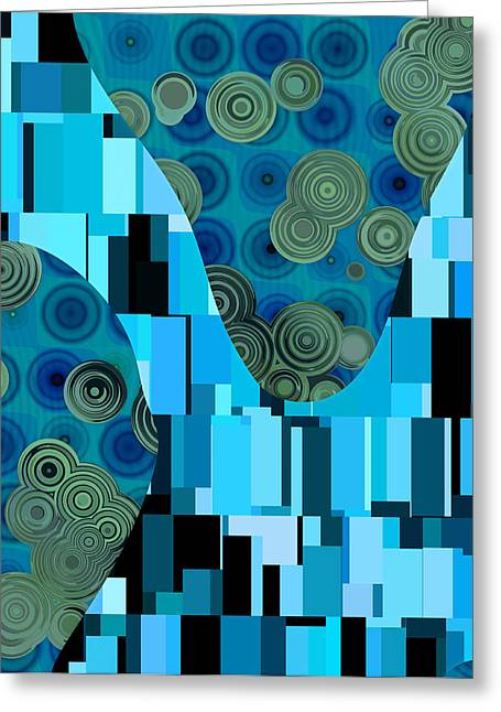Green Geometry Art Greeting Cards - Klimtolli - 08blbl0101 Greeting Card by Variance Collections