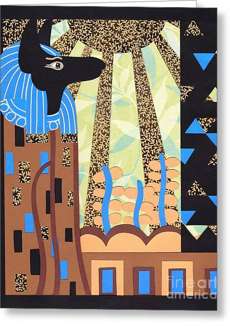 Metallic Reliefs Greeting Cards - Klimts Paper Anubis Greeting Card by Sarah Durbin