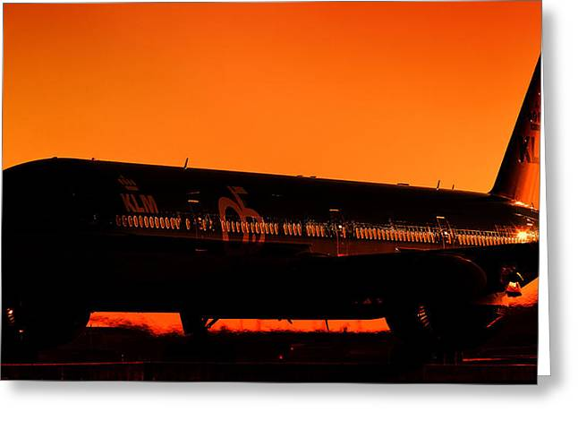 Klm Greeting Cards - KLM 95-years Boeing B77W at sunrise.  Greeting Card by Kelyn Yeutukhovich