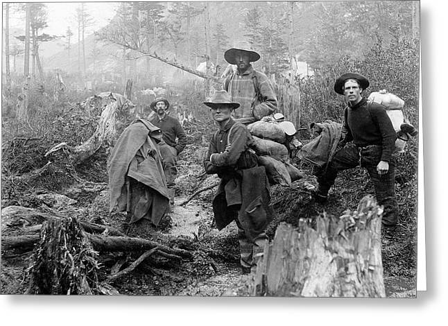 Klondike Gold Rush Greeting Cards - Klondike Gold Rush Miners  1897 Greeting Card by Daniel Hagerman