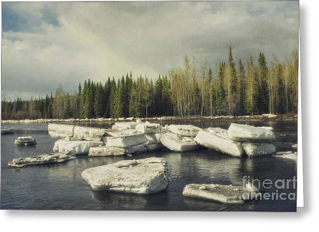 Opening Greeting Cards - Klondike River Ice Break Greeting Card by Priska Wettstein