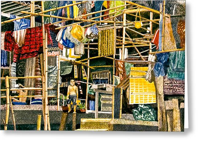 Best Sellers -  - Bamboo House Greeting Cards - Klong House Greeting Card by Andre Salvador