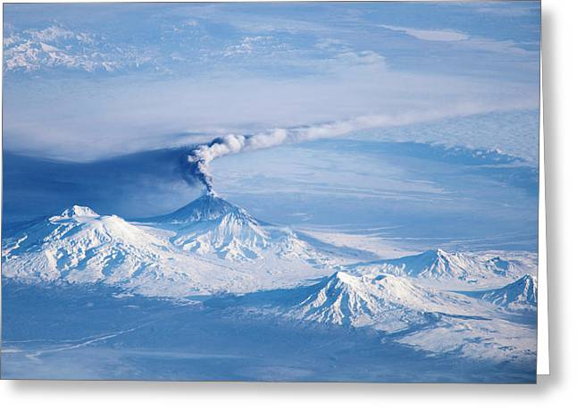 Klyuchevskoy Volcano Astronaut Photograph Greeting Card by Nasa/jsc