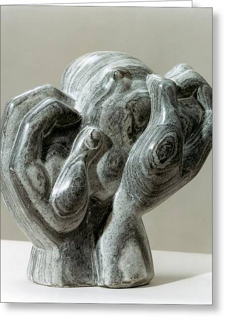 Figurative Sculptures Greeting Cards - Kneading Hands Greeting Card by Shimon Drory
