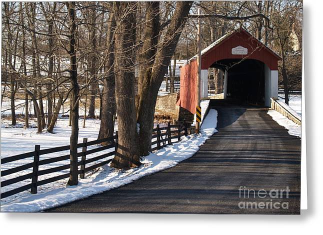 Bucolic Scenes Greeting Cards - Knechts Bridge on Snowy Day - Bucks County Greeting Card by Anna Lisa Yoder