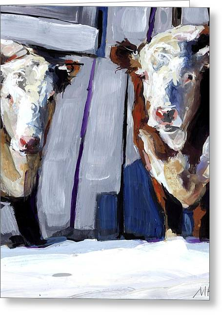 Hereford Greeting Cards - Knee Deep Greeting Card by Molly Poole
