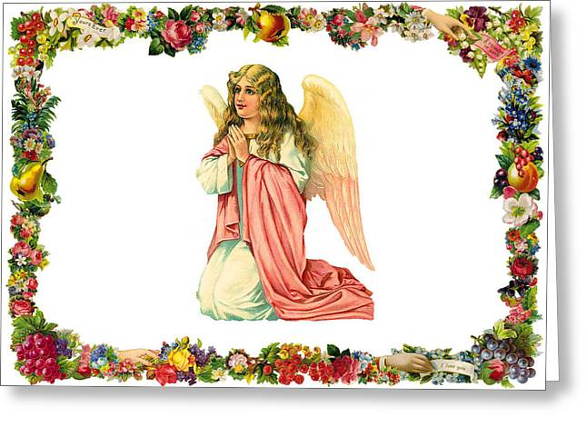 Knelt Digital Greeting Cards - Kneeling Angel Greeting Card by Munir Alawi