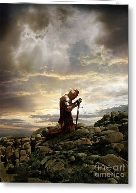 Kneeling Knight Greeting Card by Jill Battaglia