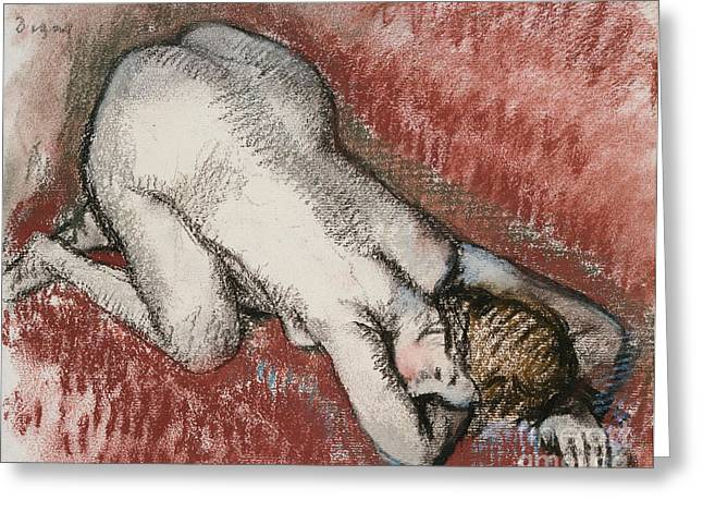 Back Pastels Greeting Cards - Kneeling Nude Woman Greeting Card by Edgar Degas