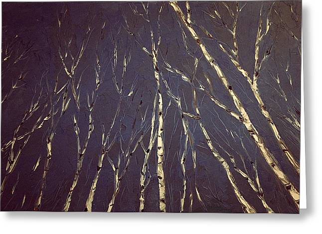 Most Paintings Greeting Cards - Knife Painting Birch Trees Greeting Card by Michael James Greene