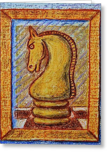 Game Piece Pastels Greeting Cards - Knight 1 Greeting Card by Andrew Pierce