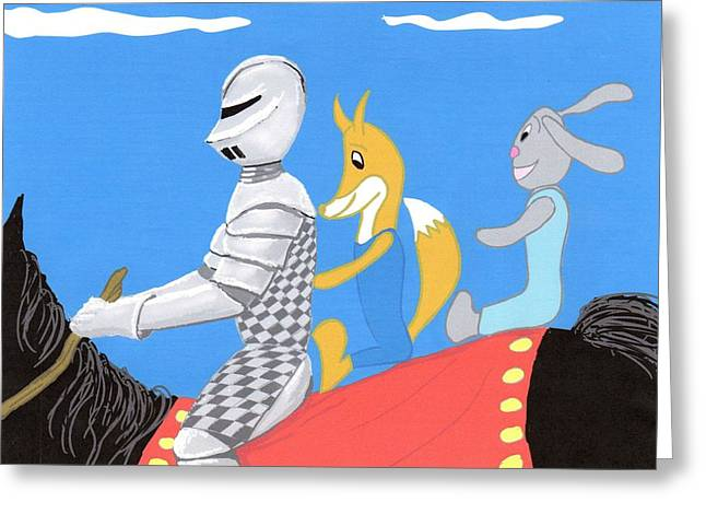 Equestrian Commissions Greeting Cards - Knight and Characters Greeting Card by Stacy C Bottoms
