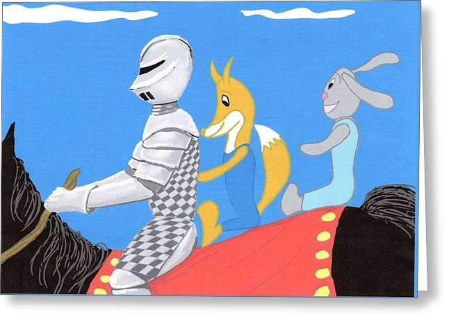 Youthful Digital Greeting Cards - Knight and Characters Greeting Card by Stacy C Bottoms