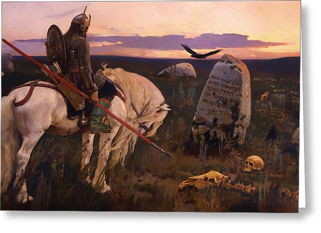 Evening Wear Paintings Greeting Cards - Knight at the Crossroads Greeting Card by Victor Vasnetsov