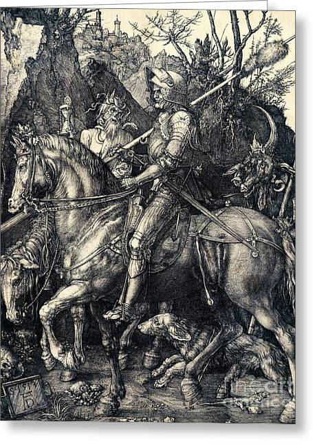 Knight Greeting Cards - Knight Death and the Devil Greeting Card by Albrecht Durer