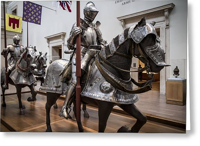 New York The Metropolitan Museum Of Art Greeting Cards - Knight in Armor  Greeting Card by Tim  Fitzwater