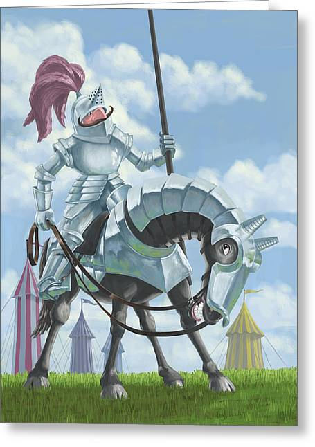 Knight In Shining Armour On Horesback Greeting Card by Martin Davey