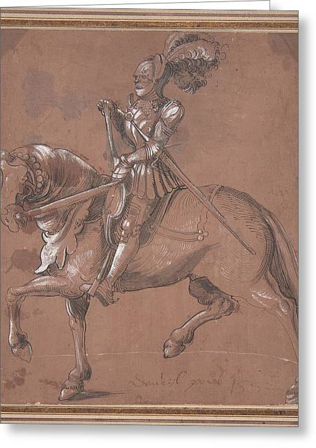 Anonymous Paintings Greeting Cards - Knight on Horseback Greeting Card by Anonymous