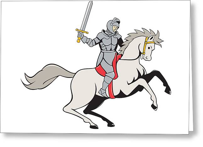 Sword Cartoon Greeting Cards - Knight Riding Horse Sword Cartoon Greeting Card by Aloysius Patrimonio