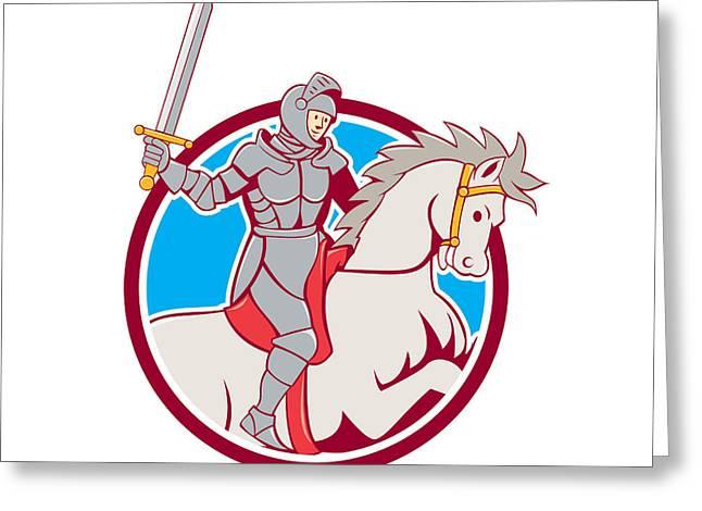 Sword Cartoon Greeting Cards - Knight Riding Horse Sword Circle Cartoon Greeting Card by Aloysius Patrimonio