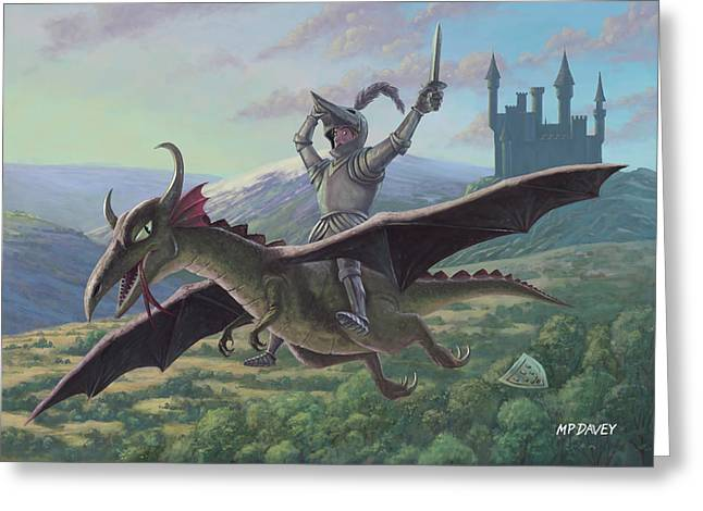 Knighted Greeting Cards - Knight Riding On Flying Dragon Greeting Card by Martin Davey
