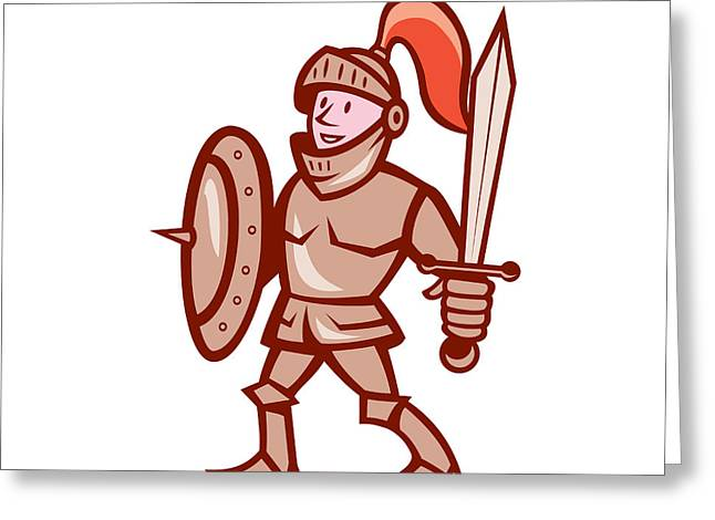Sword Cartoon Greeting Cards - Knight Shield Sword Cartoon Greeting Card by Aloysius Patrimonio