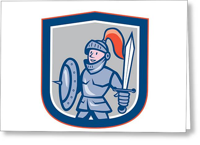 Sword Cartoon Greeting Cards - Knight Shield Sword Shield Cartoon Greeting Card by Aloysius Patrimonio