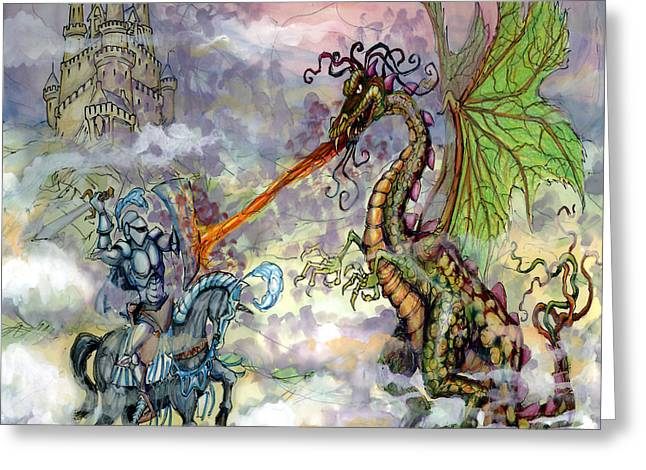 Dragon Greeting Cards - Knight Slaying Dragon Greeting Card by Kevin Middleton