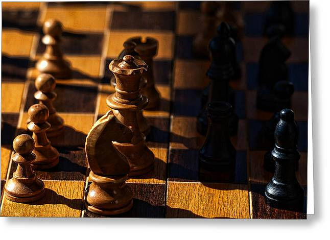 Chess Rook Greeting Cards - Knight takes bishop Greeting Card by Camille Lopez