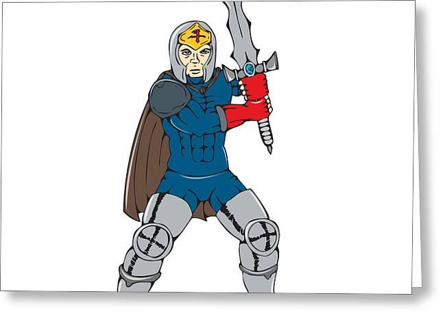 Sword Cartoon Greeting Cards - Knight Wielding Sword Front Cartoon Greeting Card by Aloysius Patrimonio