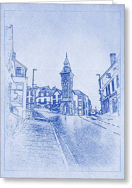 Old West Postcards Greeting Cards - Knighton Clock Tower Blueprint Greeting Card by Justin Woodhouse