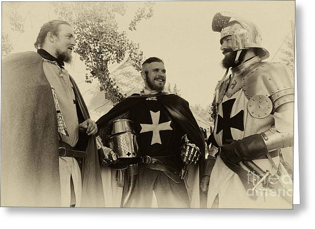 Knighthood Greeting Cards - Knights Brothers In Arms 1 Greeting Card by Bob Christopher