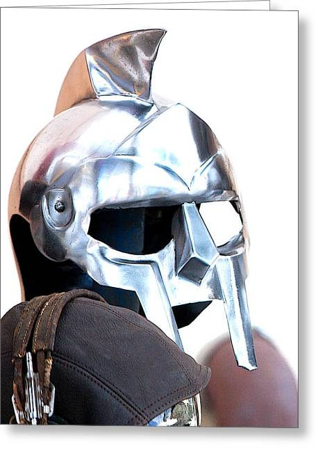 Empty Eyes Greeting Cards - Knights Helmets Greeting Card by Art Block Collections