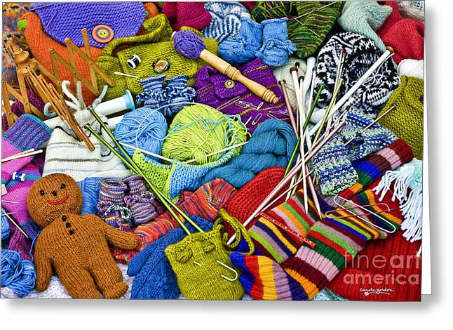 Crocheting Greeting Cards - Knit One Purl Two Greeting Card by Carole Gordon