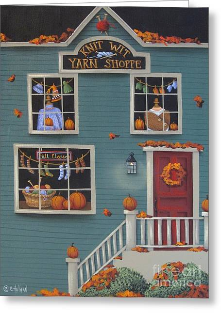 Catherine Holman Greeting Cards - Knit Wit Yarn Shoppe Greeting Card by Catherine Holman