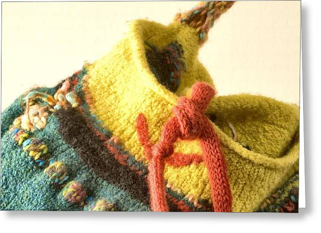 Photograph Tapestries - Textiles Greeting Cards - Knitted Receptacle  Greeting Card by Martha Nelson