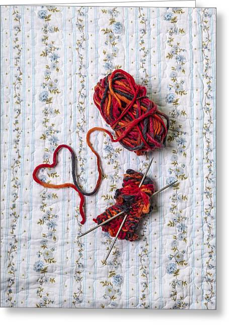 Knitting Greeting Cards - Knitted With Love Greeting Card by Joana Kruse