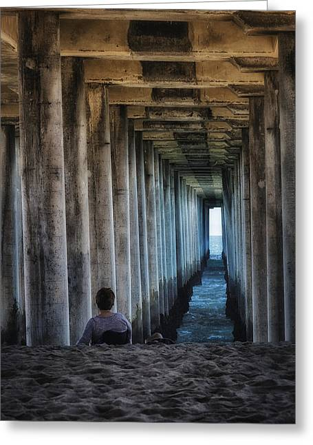 Surf City Greeting Cards - Knitter Under the Pier Greeting Card by Joan Carroll