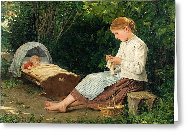 Watching The Girls Greeting Cards - Knitting girl watching the toddler in a craddle Greeting Card by Albert Anker