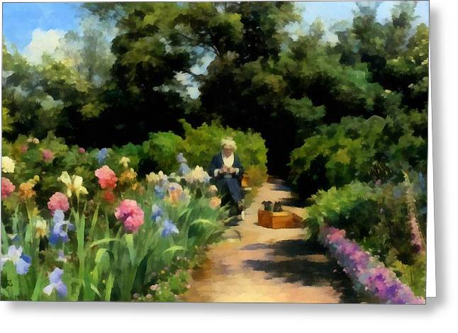 Knitting In The Garden Greeting Card by Peder Mork Monsted