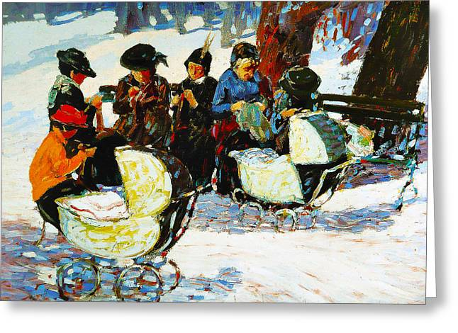 Babysitting Greeting Cards - Knitware Soldiers Greeting Card by George Benjamin Luks