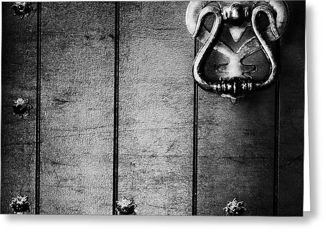 Old Door Greeting Cards - Knock Knock Greeting Card by Theresa Tahara