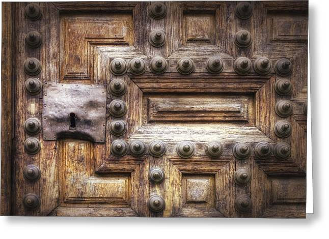 Real Face Greeting Cards - Knock Three Times Greeting Card by Joan Carroll