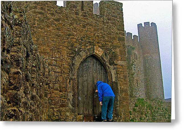 Knocking Digital Art Greeting Cards - Knocking at Castle Door in Medieval Obidos-Portugal Greeting Card by Ruth Hager